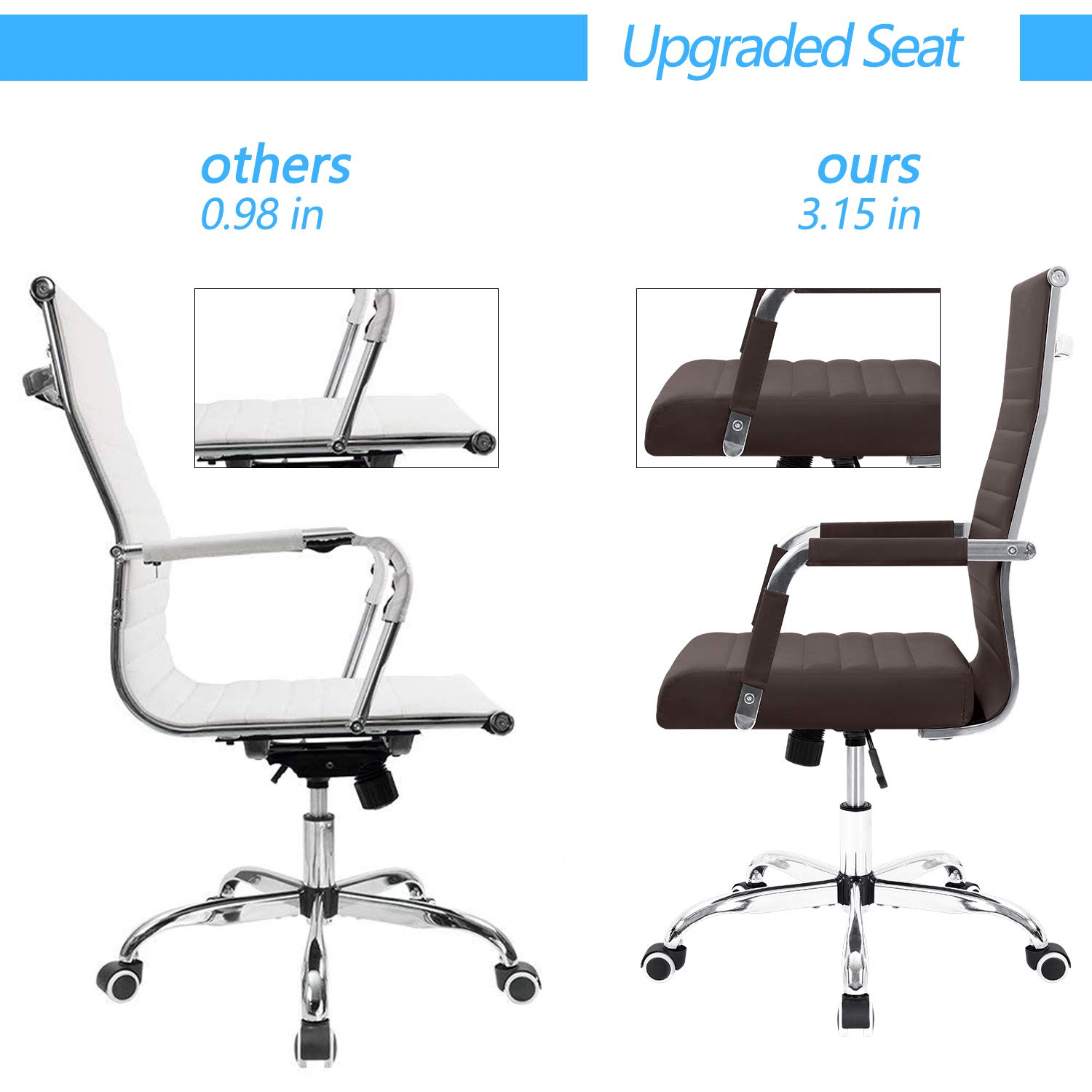 Furmax Ribbed Office Desk Chair Mid-Back Leather Executive Conference Task Chair Adjustable Swivel Chair with Arms White