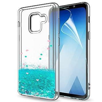 LeYi Compatible with Funda Samsung Galaxy A8 2018 Silicona Purpurina Carcasa con HD Protectores de Pantalla,Transparente Cristal Bumper Telefono Gel ...