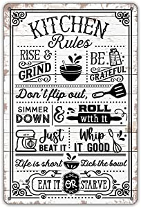 QIONGQI Funny Kitchen Quote Metal Tin Sign Wall Decor Farmhouse Rustic Kitchen Rules Sign for Home Kitchen Coffee Shop Decor Gifts