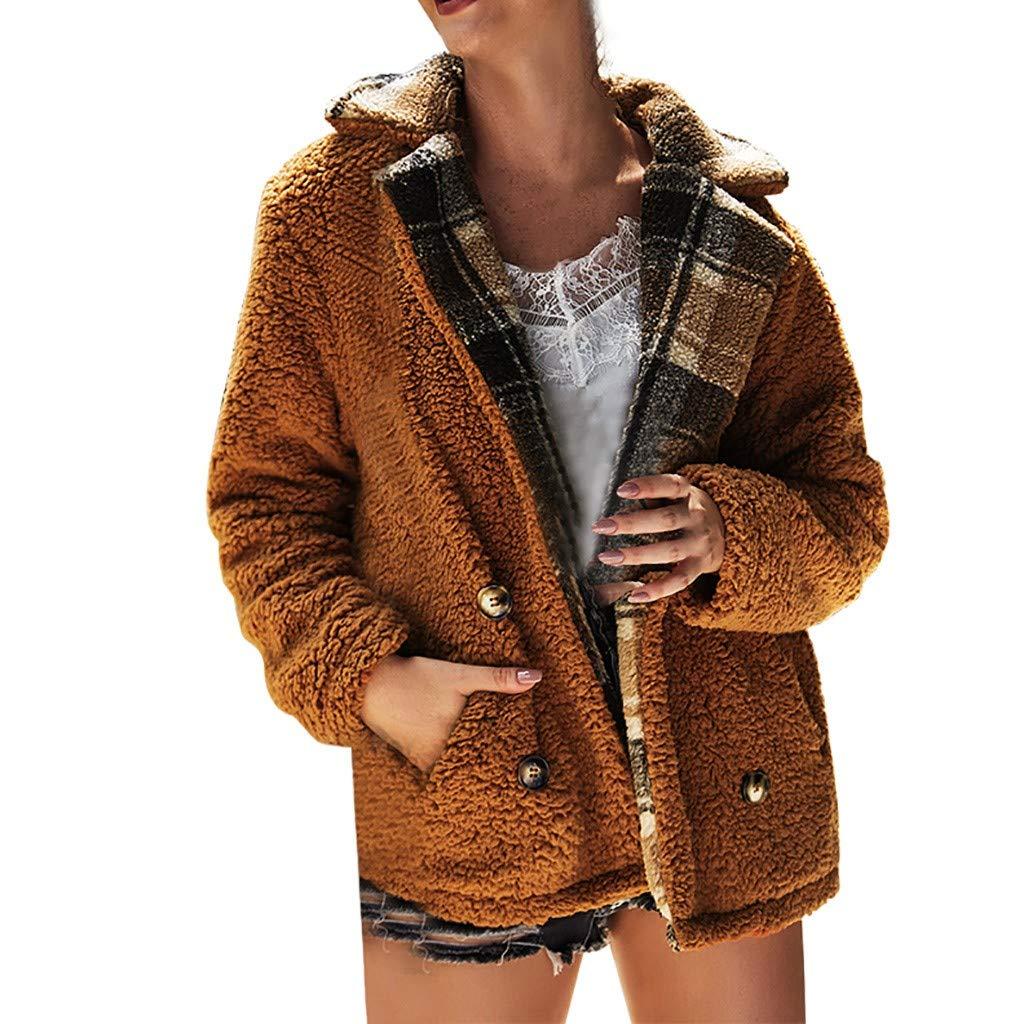 Fashionhe Women Winter Outwear Cardigan Lapel Coat Long Sleeve Overcoat Loose Tops(Khaki.XL)