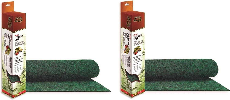 (2 Pack) Zilla Reptile Terrarium Bedding Substrate Liner, Green - 20 Gallon