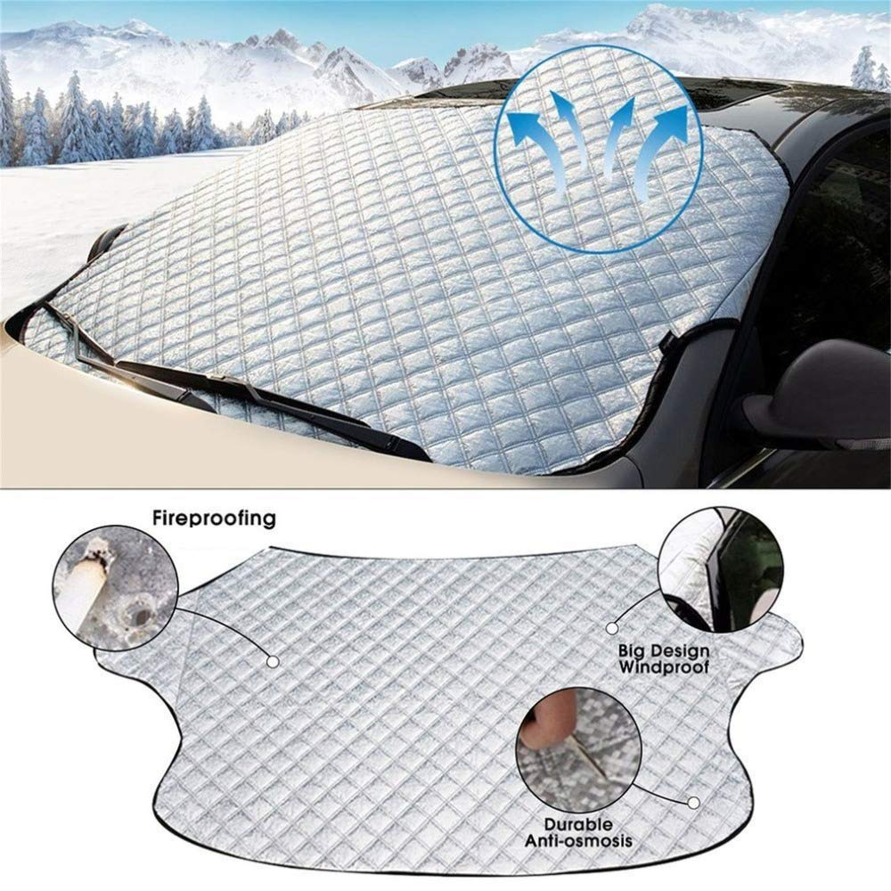100/% Scratch Free Unlike Magnetic Covers Vivo/© Heavy Duty Car Windscreen Cover For Ice Frost Snow Windshield Protector Sun Shade Van 4X4 SUV