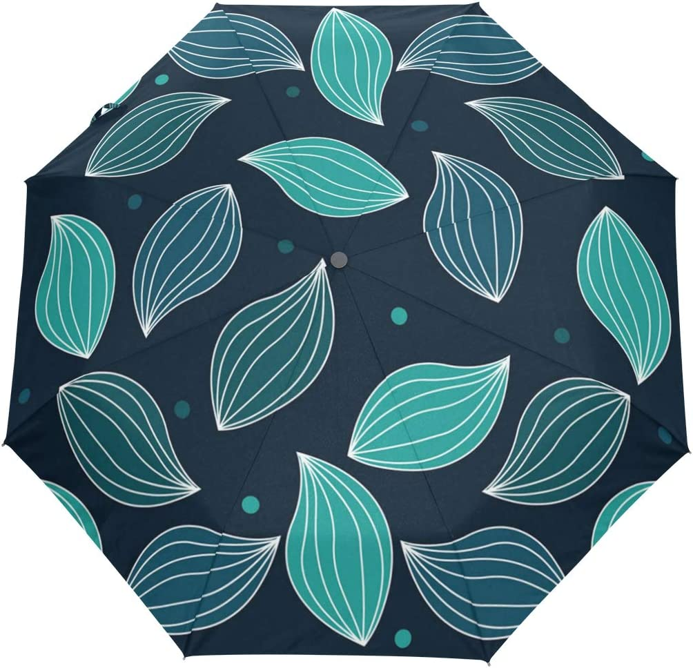 Background Tropical Leaves Wall Decor fashion print cute Windproof automatic tri-fold umbrella sun UV protection Sun umbrella