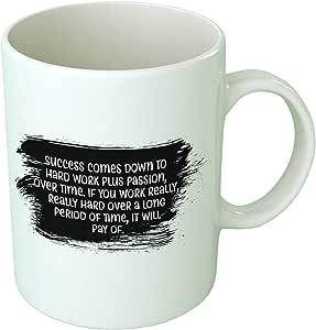 أبتيتود العمل الجاد فنجان القهوة - أبيض