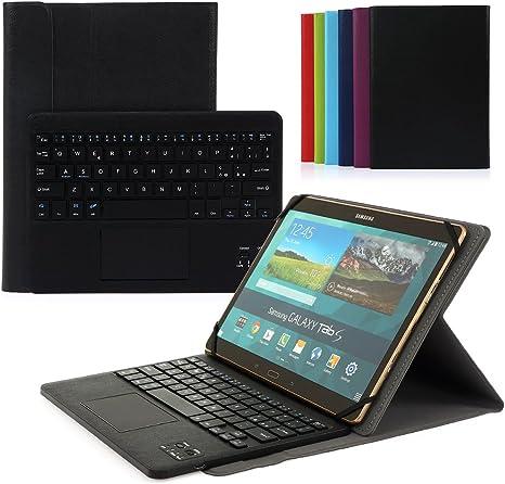 Coastacloud Teclado Bluetooth [3.0] - Estuche para Samsung Galaxy Tab Pro 10.1 con diseño italiano y panel táctil AZERTY - Compatible con [10.1 pulgadas] cualquier tableta Android / Windows [negro]: Amazon.es: Informática