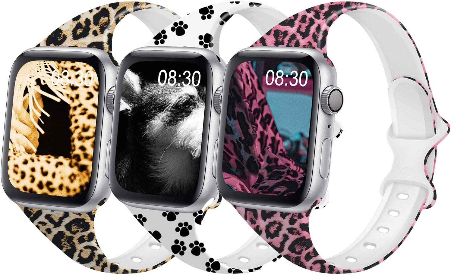 DYKEISS Pattern Printed Slim Silicone Band Compatible for Apple Watch Band 38mm 42mm 40mm 44mm, Thin Narrow Replacement Strap for iWatch Series 5/4/3/2/1 (Leopard/Paw/Pink Leopard, 38mm/40mm)