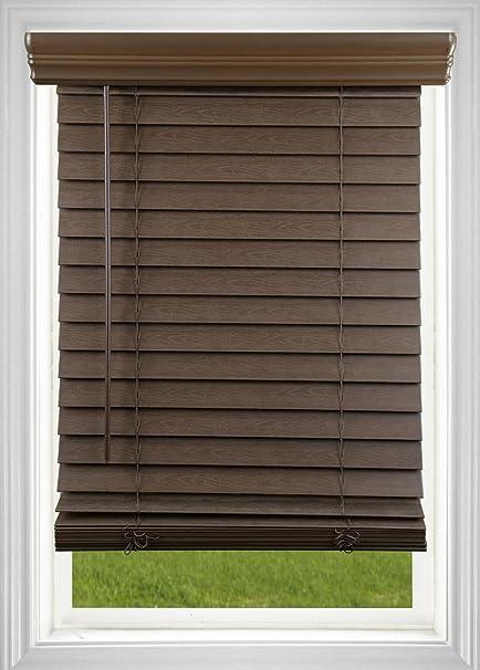 Cordless 2 Inch Faux Wood Blinds.Dez Furnishings Qjbk634640 2 In Cordless Faux Wood Blind 63 5w X 64l Inches Dark Oak