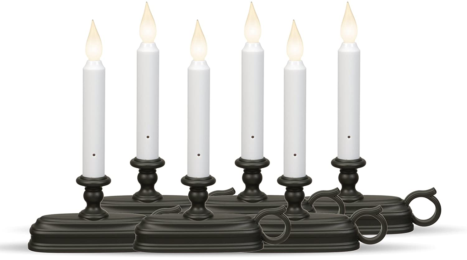 Xodus Innovations FPC1525A Battery Operated LED Window Candle with Sensor Aged Bronze Pack of 6