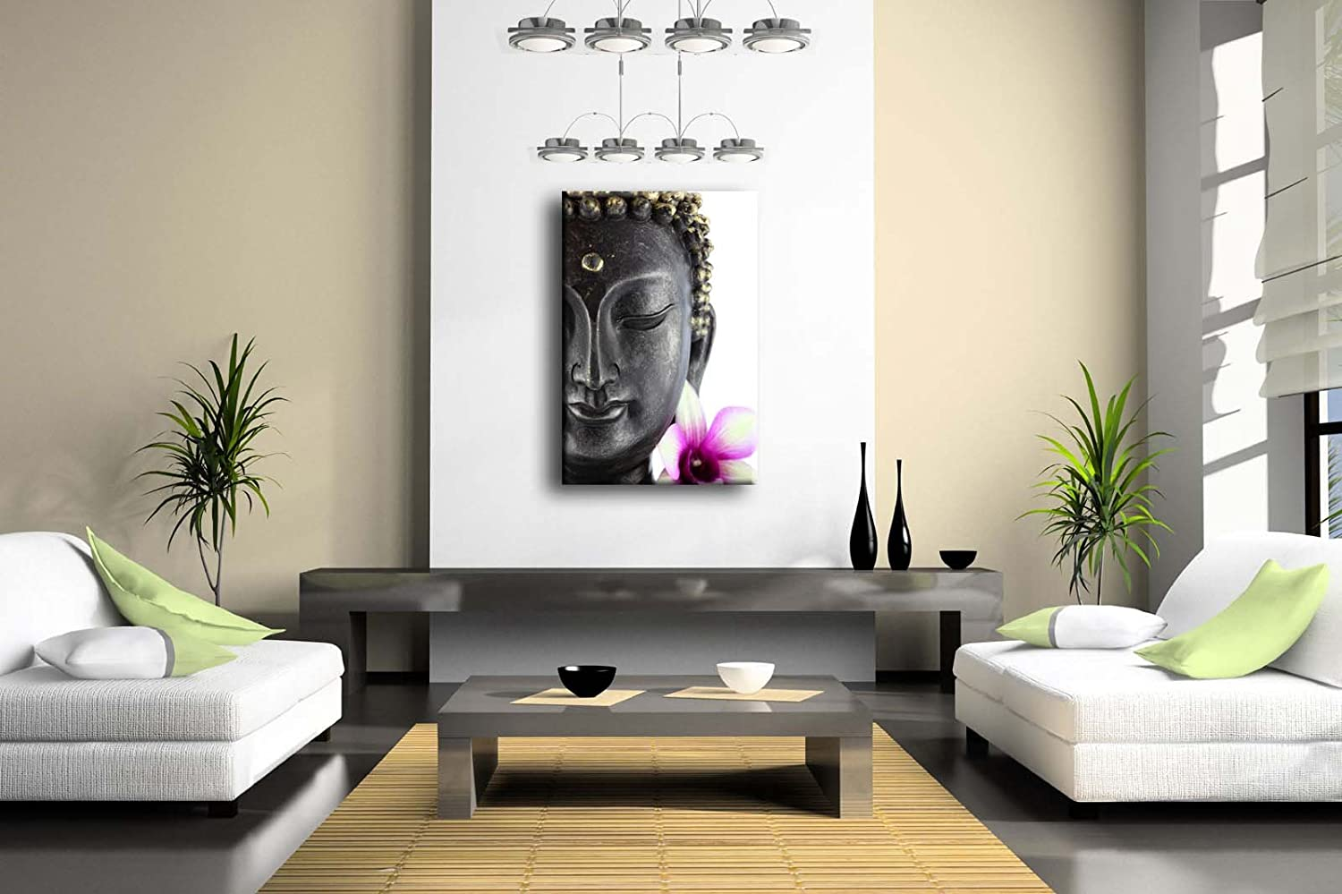Amazon.com: Purple Buddha Statue With White And Purple Flower Wall ...