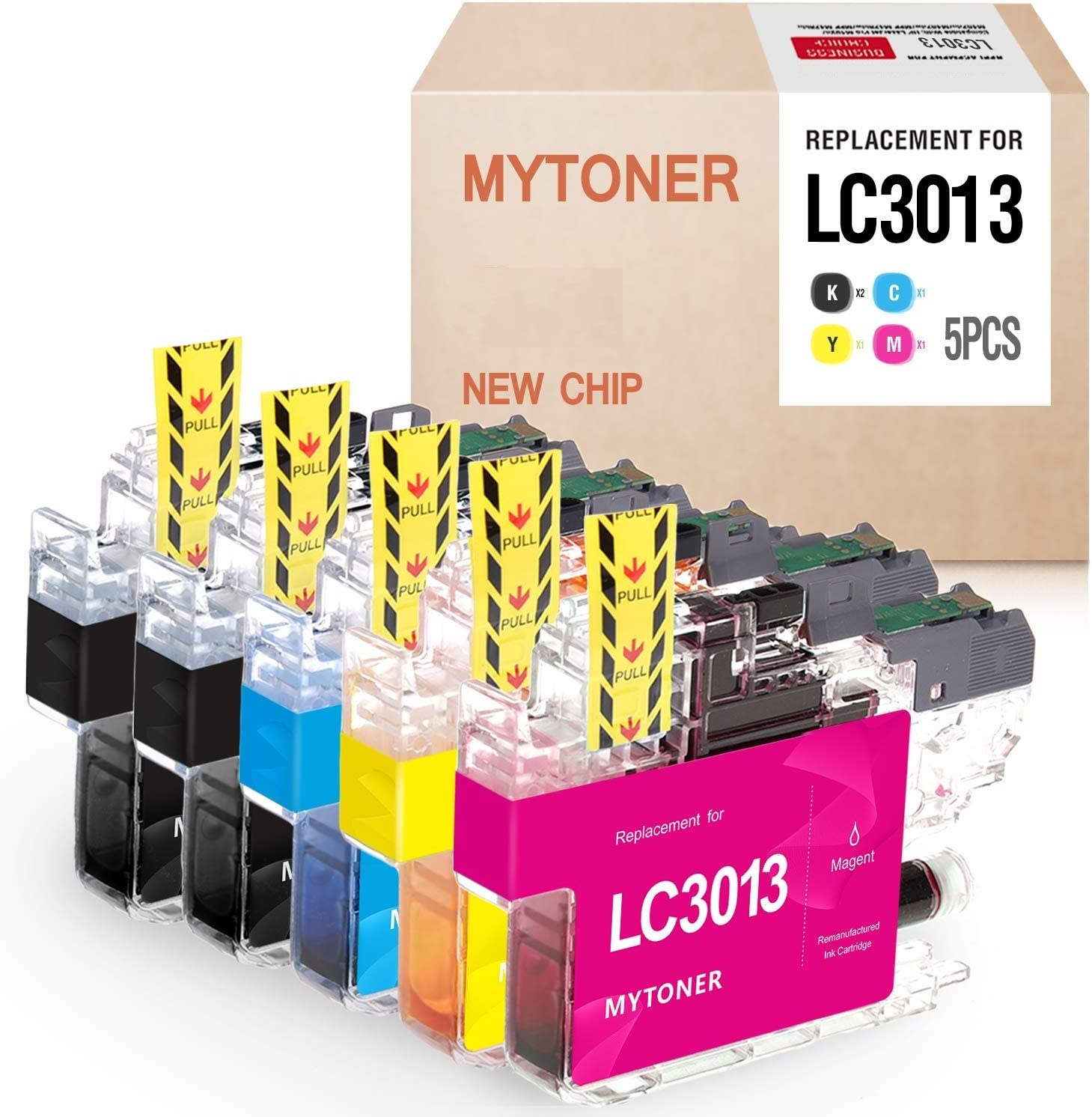 MYTONER LC3013 Compatible Ink Cartridge Replacement for Brother LC3013 LC-3013 Ink for Brother MFC-J491DW, MFC-J497DW, MFC-J690DW, MFC-J895DW Printer Ink (Black, Cyan, Magenta,Yellow, 5-Pack)