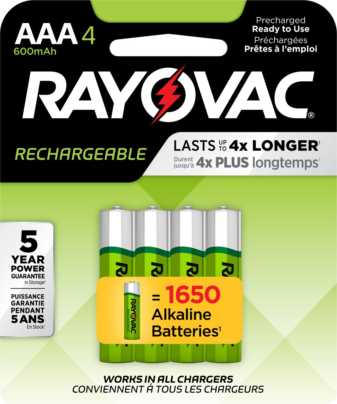 RAYOVAC AAA 4-Pack RECHARGEABLE Batteries, LD724-4OP GENE
