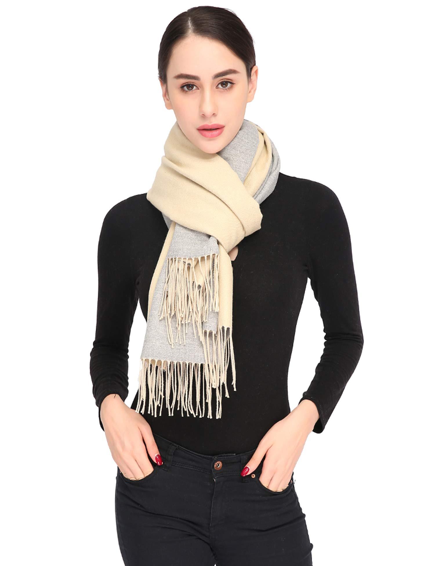 Luxuriously Soft Large Winter Scarves GIft Box Women Stylish Warm Blanket Scarf Solid Oversized Pashmina Cashmere Shawl Wrap Scarves 75''x25.5'' (Beige/Grey, Box)