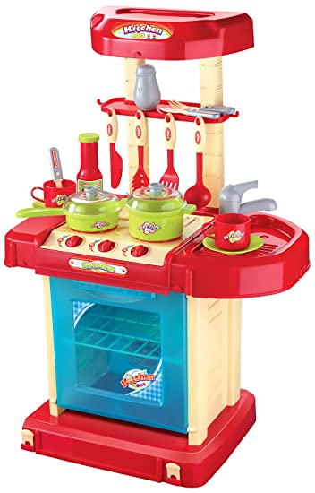 Amazon Com Berry Toys Play And Carry Plastic Play Kitchen Red
