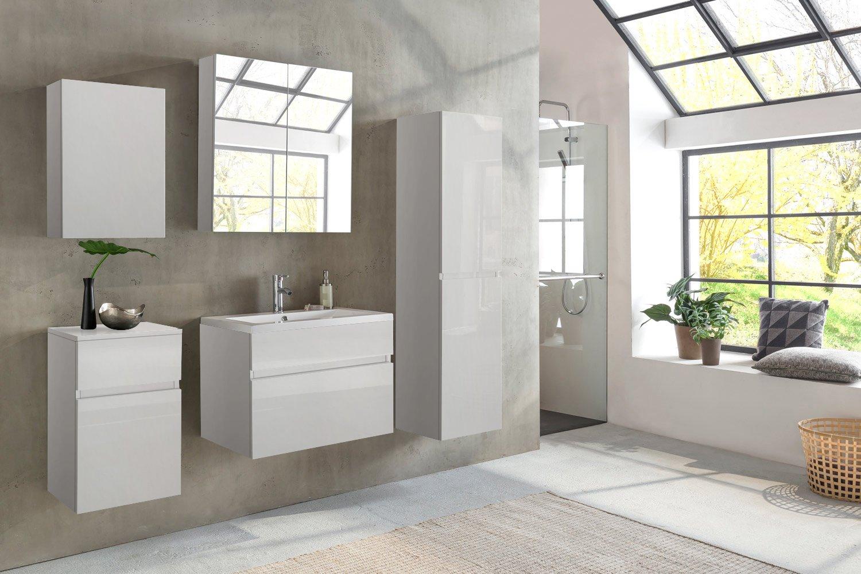 SAM® Design Badmöbel Set Parma 5tlg, Hochglanz Weiß, 80 Cm Breite,  Softclose Funktion, Badezimmer Set Aus 1 X Spiegelschrank, 1 X Waschplatz,  ...