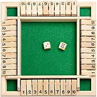 Deluxe 2-4-spelers, Shut The Box houten tafel, klassiek dobbelspel board speelgoed, pedagogisch interessant…