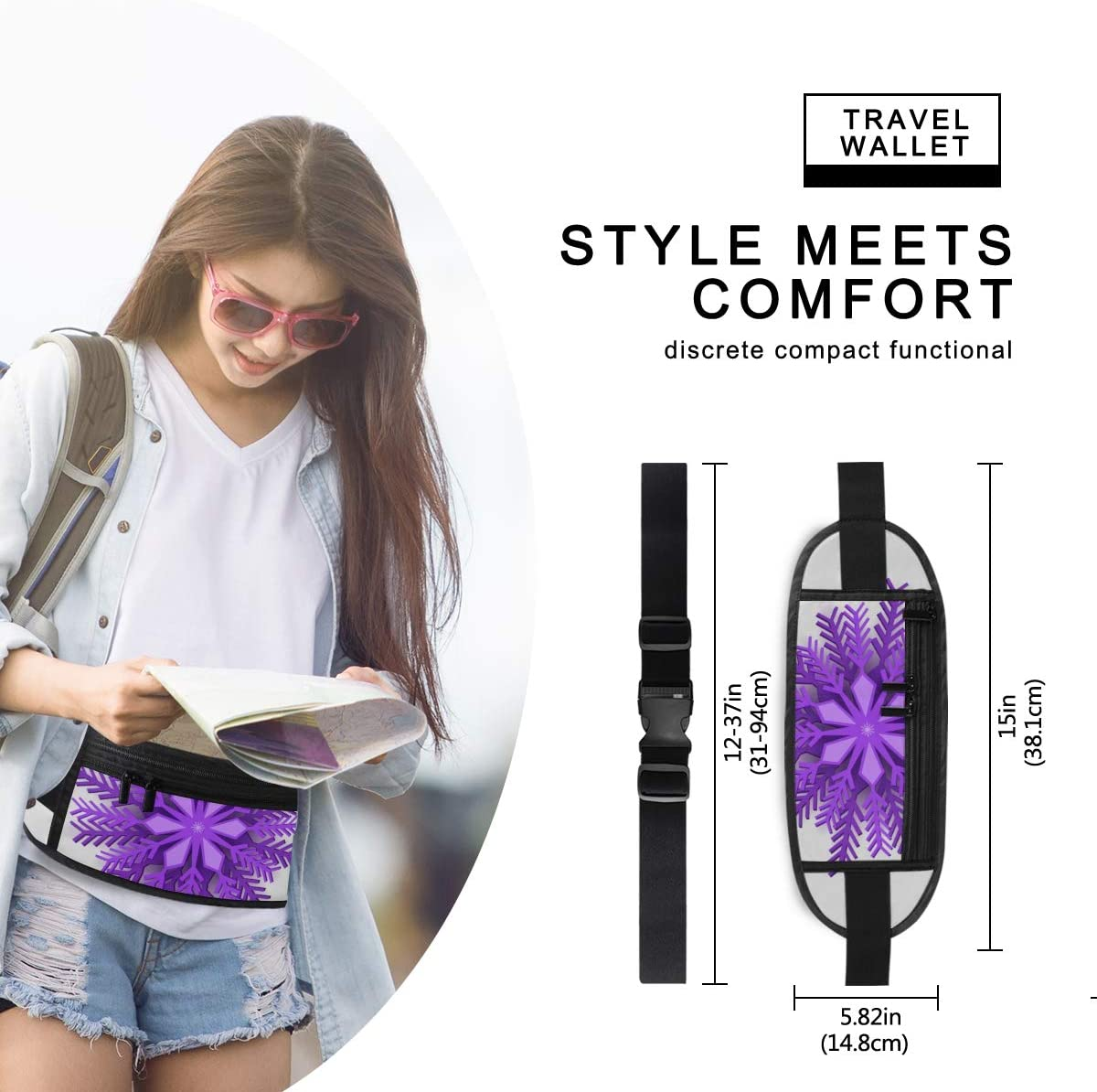 Travel Waist Pack,travel Pocket With Adjustable Belt Violet Christmas Origami Snowflake Design Paper Running Lumbar Pack For Travel Outdoor Sports