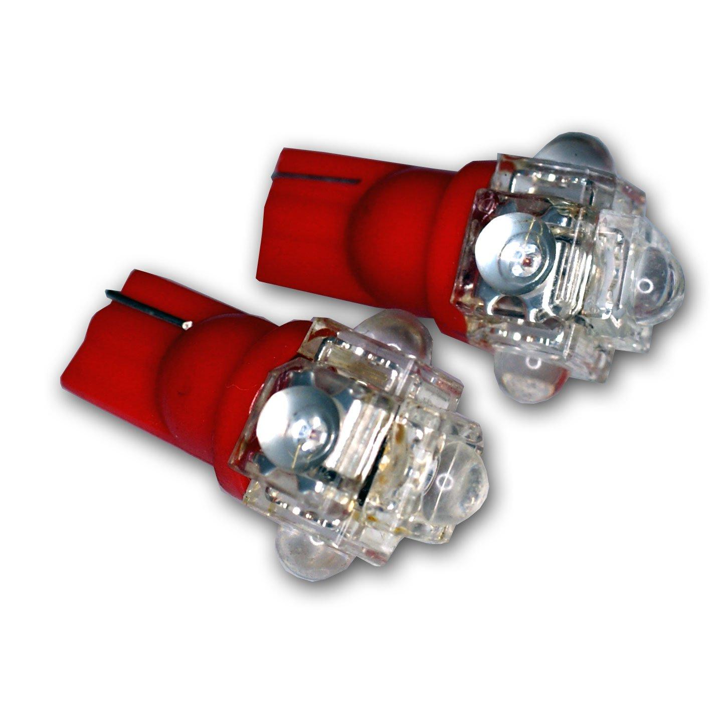 TuningPros LEDTL-T10-R5 Tail Light LED Light Bulbs T10 Wedge, 5 Flux LED Red 2-pc Set