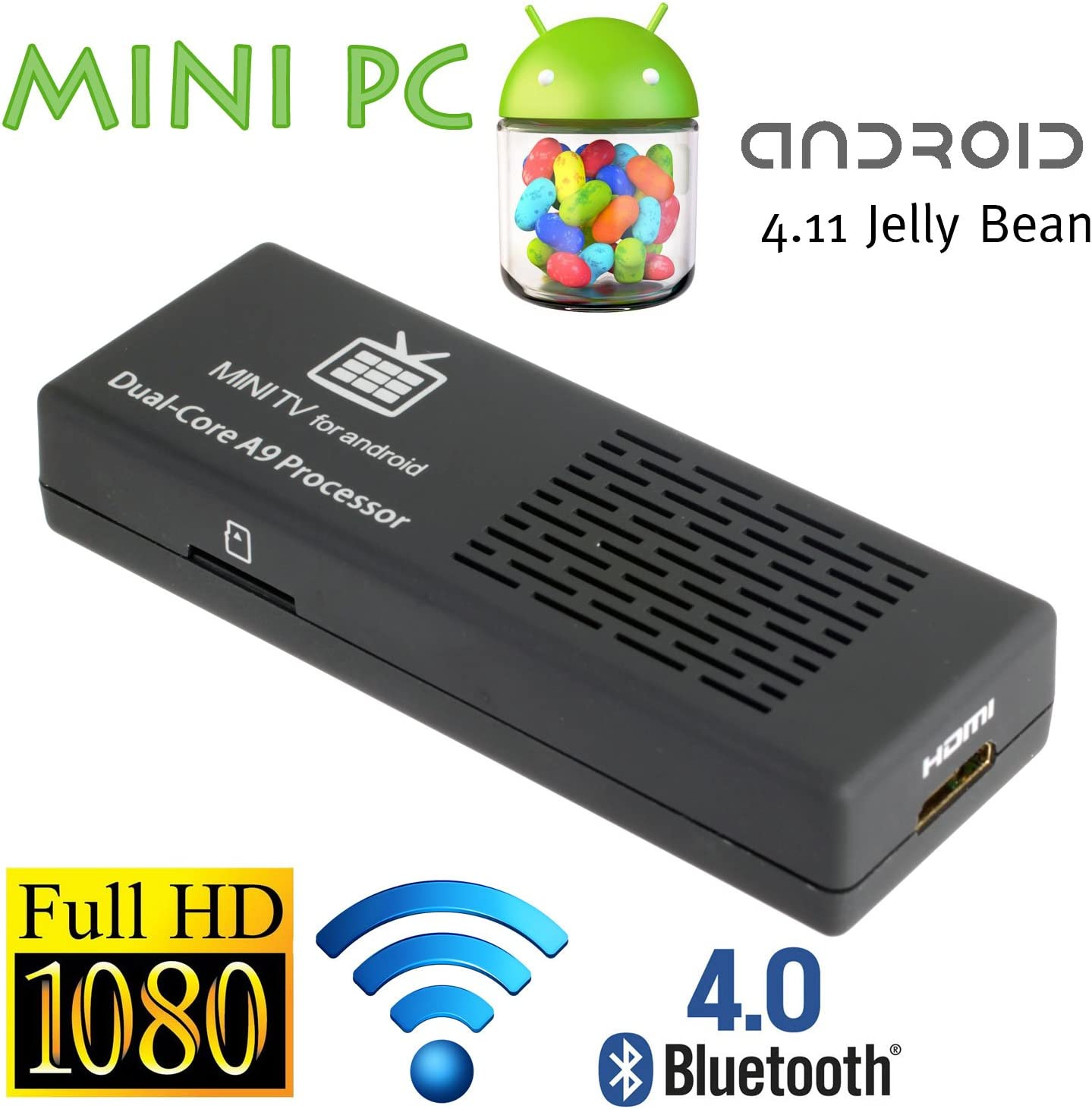 8 GB Android 4.1.1 Mini PC Smart TV Box Jugador Dual Core 1,6 GHz HDMI Bluetooth: Amazon.es: Electrónica