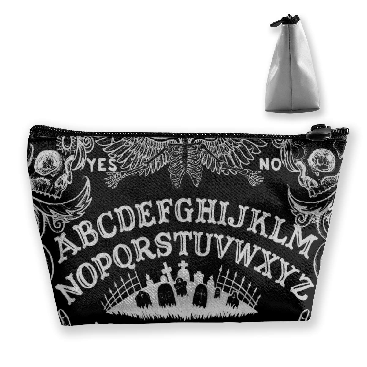 Women Girls Makeup Cosmetic Case Pouch for Cosmetics Digital Accessories Trip, Large Capacity Travel Makeup Train Case Multifunction Tote Bag, Spirit Witch Board Black Gothic Goth Occult Witchcraft