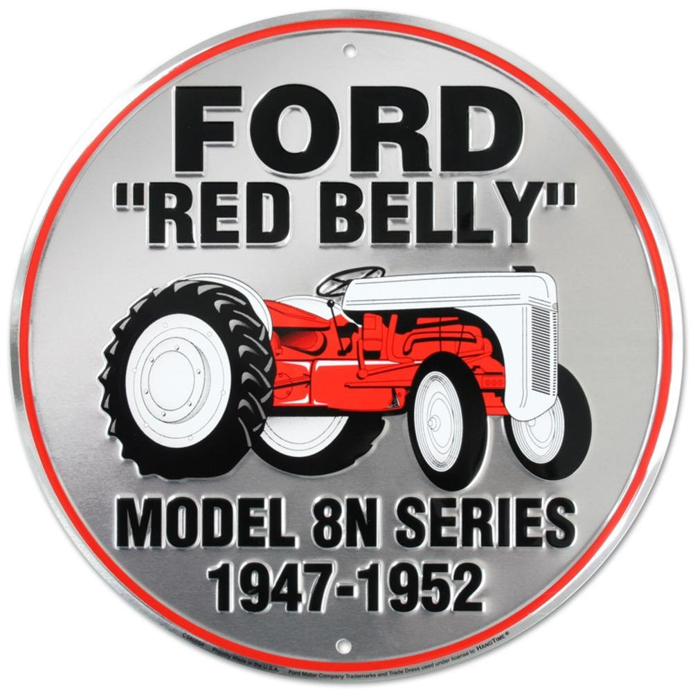 Ford Red Belly Model 8N Red Tractor Retro Vintage Die-Cut Round Tin Sign Dixie