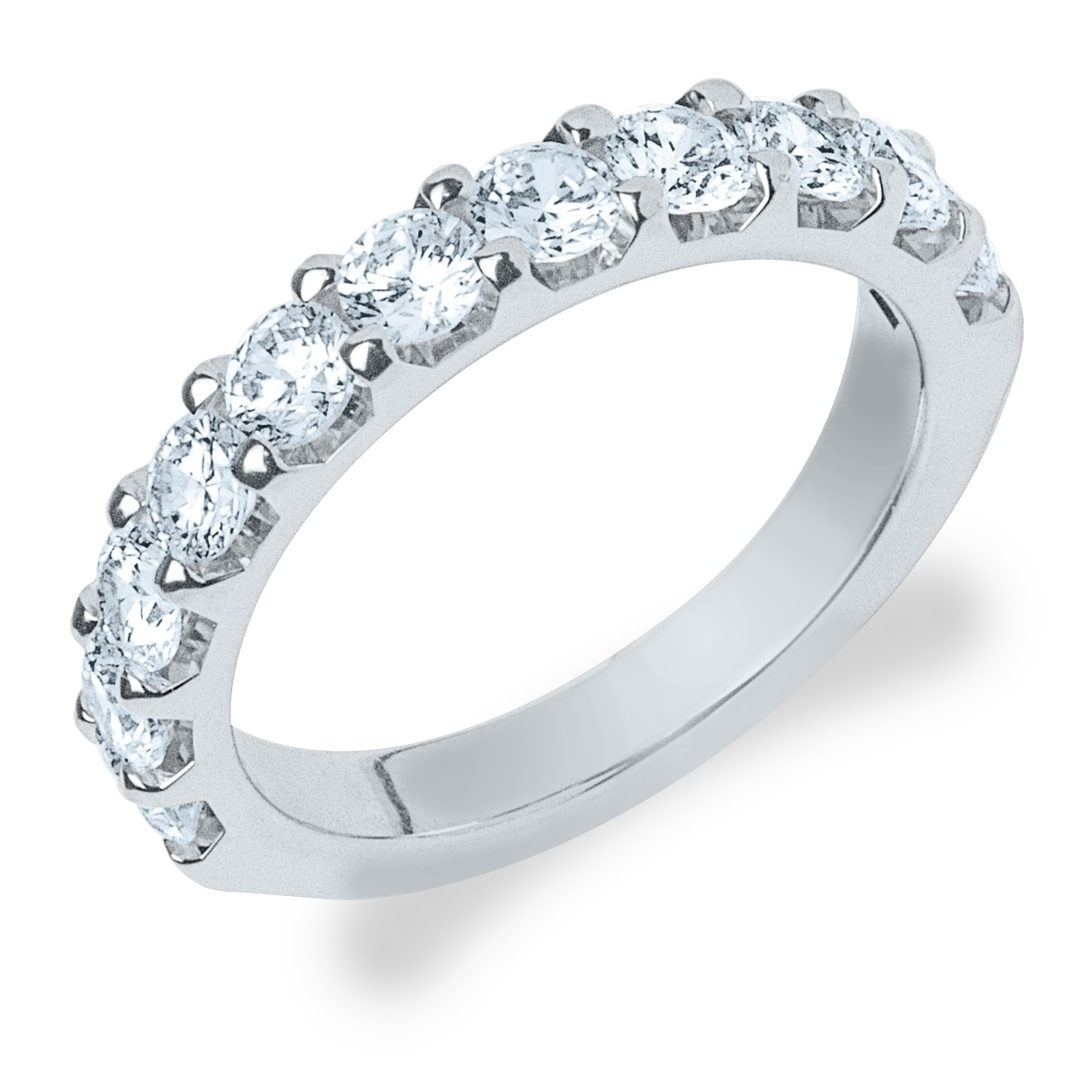 Legacy 1 1/2 CT Lab Grown Diamond Wedding Ring in 10K White Gold, Sparkling in E-F Color and VS Clarity- Finger Size 4.5