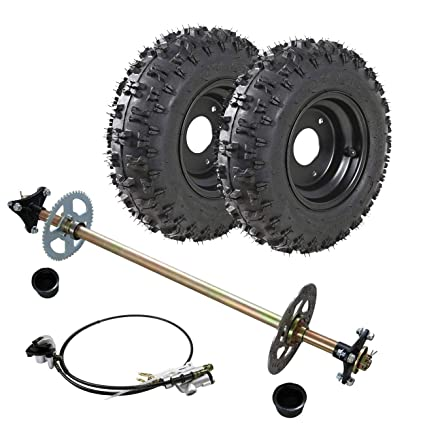 WPHMOTO Go Kart Rear Axle Assembly Complete Wheel Hub Kit & 4 10-6 Tires  With Rim & Brake Assembly for Mini Kids ATV Quad