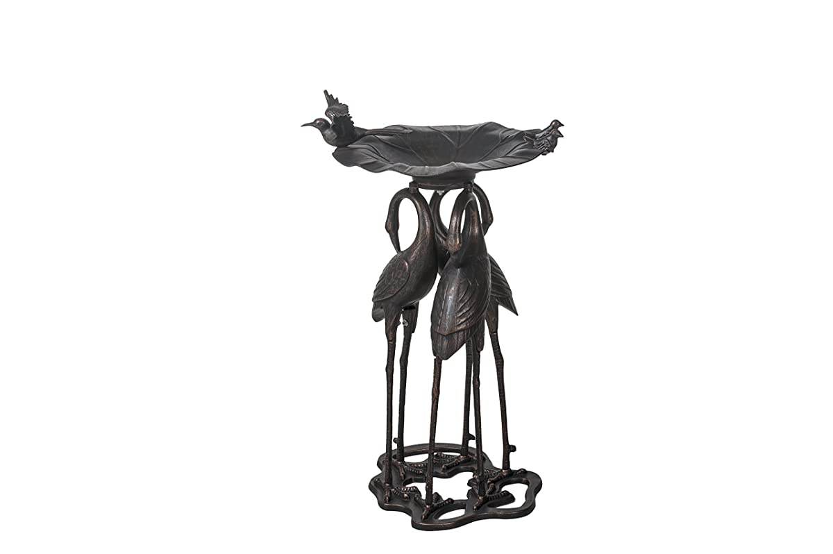 Sunjoy Antiqua Cast Aluminum Crane Birdbath