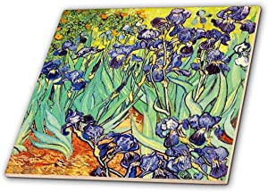 3dRose 3D Rose Irises by Vincent Van Gogh 1889-purple Flowers iris Garden-Copy of Famous Painting by The Master-Ceramic Tile, 12-inch (ct_155630_4), 12