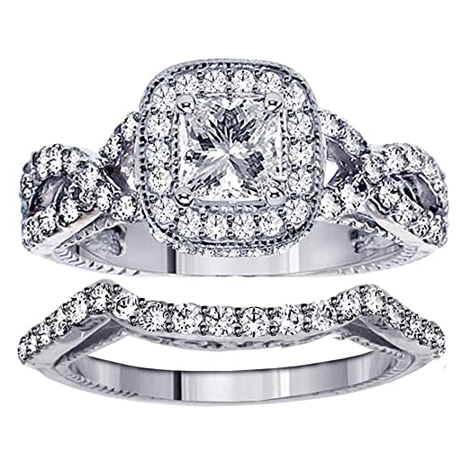 Amazoncom 225 CT TW Princess Cut Diamond Braided Engagement