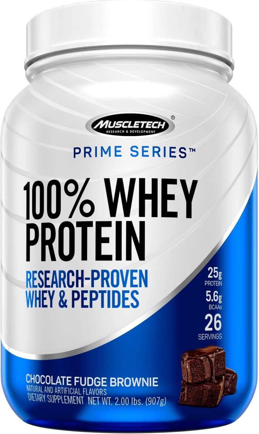 MuscleTech Prime Series 100 Whey Protein Powder, 25g Premium Protein, Research Proven Whey Peptides for Faster Absorption, Chocolate, 26 Servings 2.0lbs