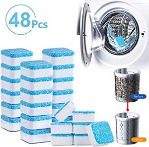 TeeBetter Solid Washing Machine Cleaning Tablets Washer Cleaner Effervescent Tablets for Front & Top Loader Deep Cleaning Remover for Home Bath Room Kitchen (48 PCS)