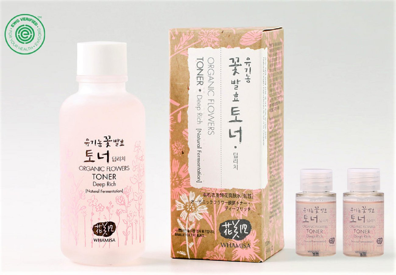 Whamisa Organic Flowers Skin Toner - Deep Rich Essence Toner 120ml + 40ml - Natural fermented | EWG Verified | BDIH Certified | Pure Natural Ingredients & 97.4% Organics - Best Korean Skin Care