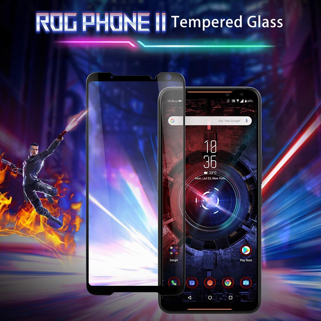 ELICA 21D Perfect Fitting Invisible Edge to Edge Tempered Glass for ASUS ROG Phone II/Asus Rog 2 (ZS660KL) 6.59