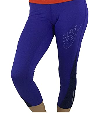 cb7f30cc65aa NIKE Women's Capri Leggings Pants Dri-Fit Purple Run Leopard Print Band (X-