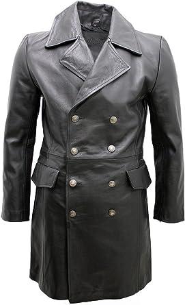 Infinity Mens General Long Black German Naval Leather Coat
