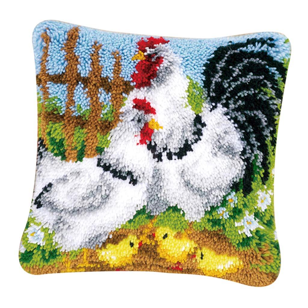 CUTICATE DIY Chicken Cushion Carpet Mat Latch Hook Rug Kits for Beginners,Craft Embroidery Pillowcase Crocheting Cartoon Handmade Baby Wedding Gift