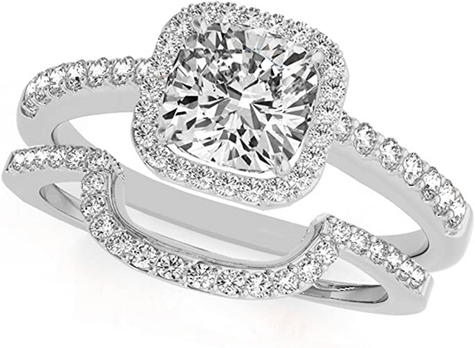 Amazon Com Cushion Cut Square Halo Diamond Engagement Ring And Wedding Band Bridal Set In Platinum 0 67ct Jewelry