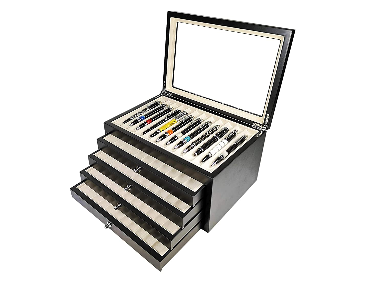 Stifthalterbox mit Vitrine f/ür 78 schwarze Holzstifte