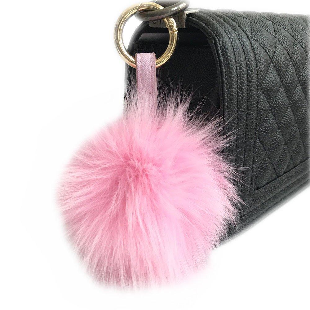 10cm Real Fox Fur Pom Pom Ball Woman Bag Pendant Keychain Handbag Gold Key Ring