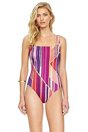 6ce87924603 Gottex Women's Art Deco One Piece Wide Strap Tank Swimsuit at Amazon ...