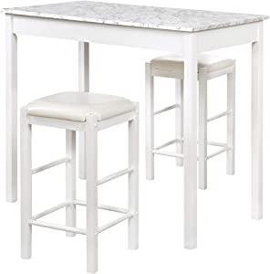 Linon White 3 Piece Faux Marble Tavern Set
