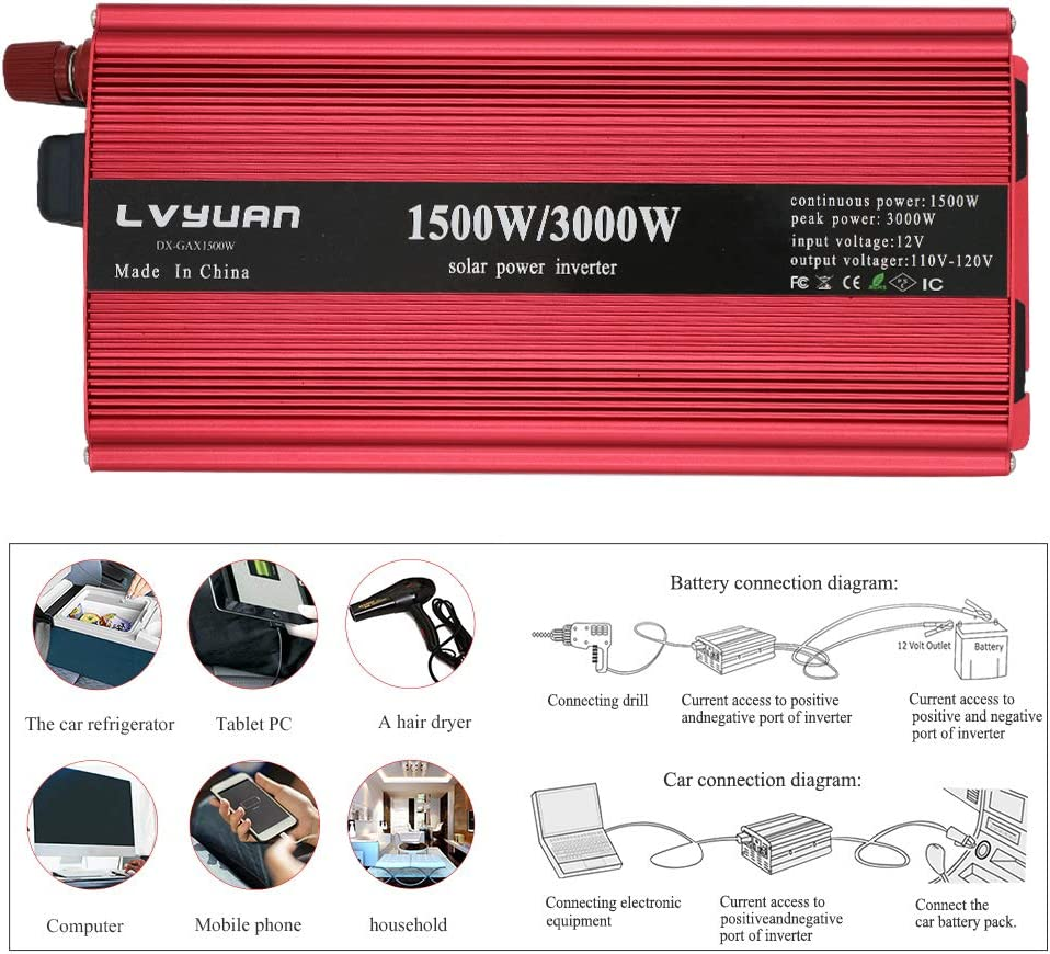 vacuums Power Tools LVYUAN 1500W//3000W Power Inverter Dual AC Outlets and Dual USB Charging Ports DC 12V to 110V AC Car 12V Inverter Converter with Digital Display 4 External 40A Fuses for Blenders