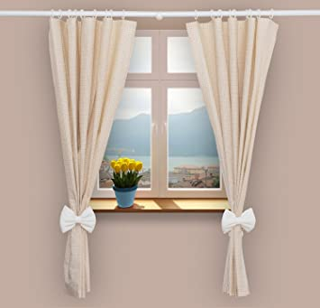 Nursery Curtains For Baby Room With Decorative Bows 62x62 Inch