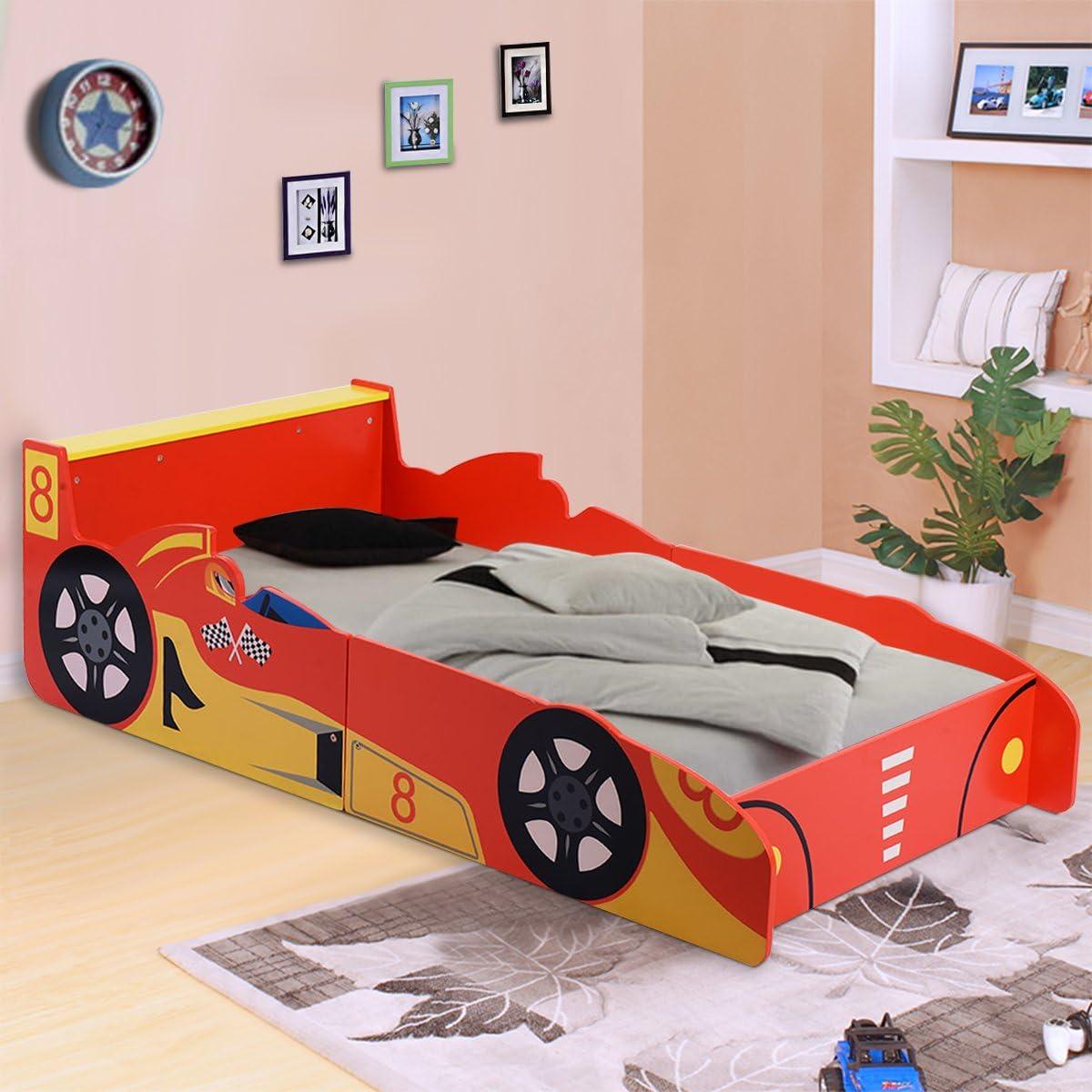 Costway Kids Bed Wooden Racing Car Themed Bed Boys Bedroom Furniture Junior Toddler Children Home Indoor Red Amazon Co Uk Baby