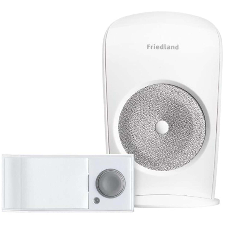 NEUF Friedland Blanc Carillon Porte sans fil KIT SONNETTE poussoir sonnette sans fil Set d3003s