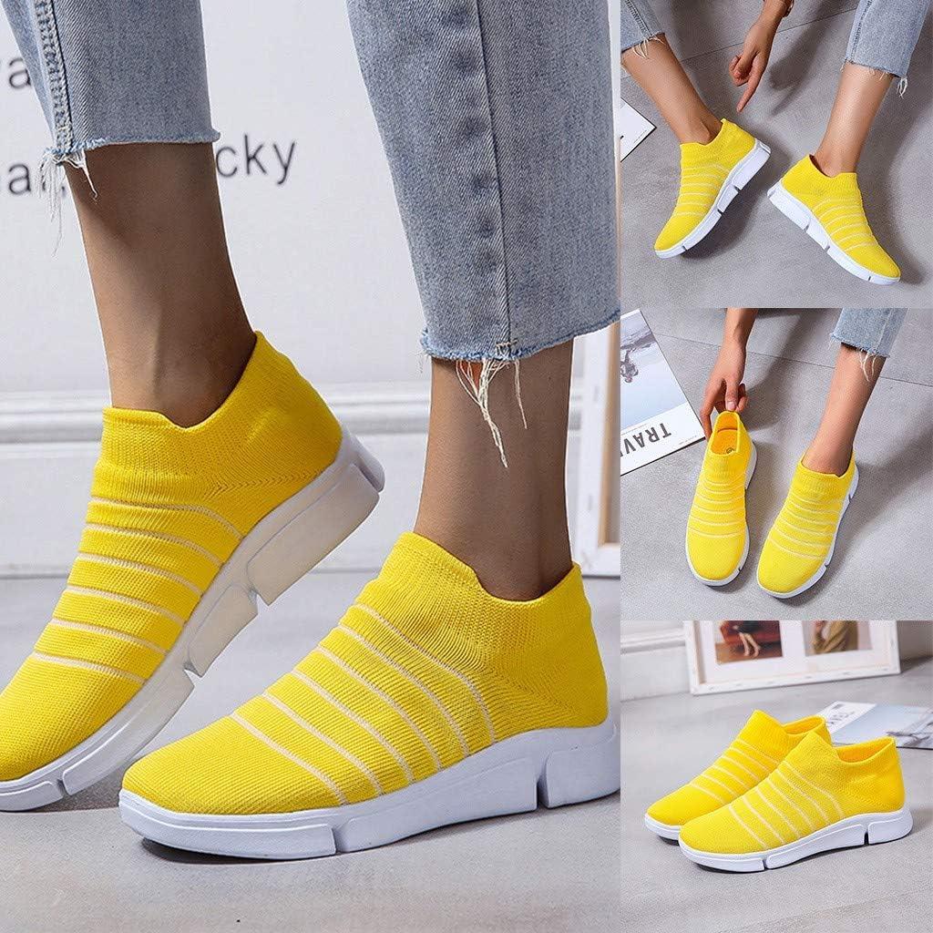 Zapatillas De Running para Mujer Deportivas, Zapatillas Deportivas De Mujer, Zapatillas De para Correr, Zapatos Mujeres De Malla Transpirable Respirable (Amarillo, EU:36/ CN:235 23.5cm/9.3