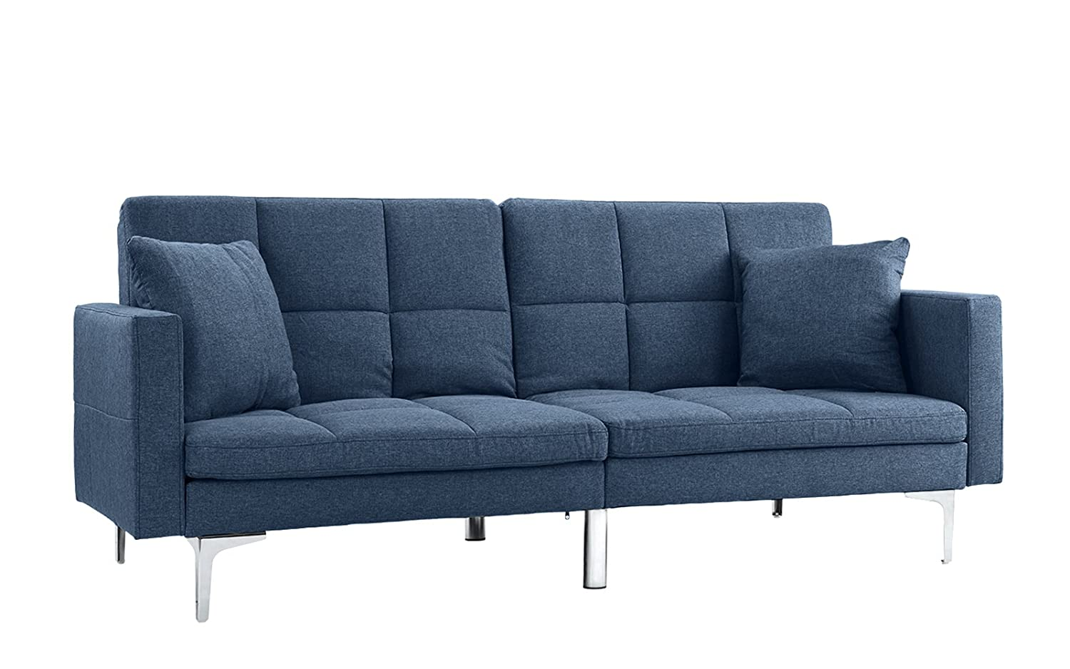 Amazon com divano roma furniture modern plush tufted linen split back living room futon sofa for small space blue kitchen dining