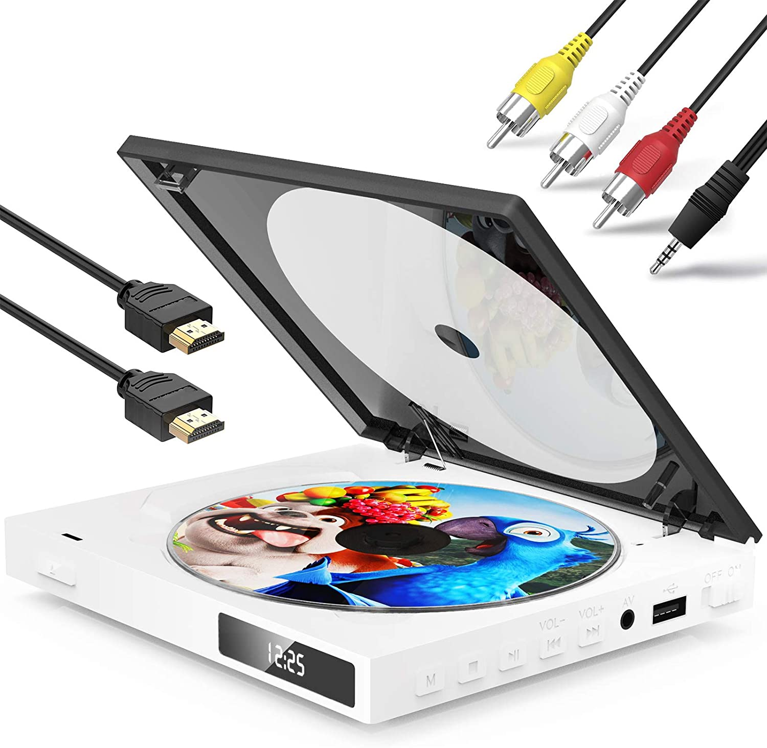 Geoyeao Mini HD DVD Player with HDMI AV Output Built-in Speaker Palm Size DVD CD/Disc Player All Reigion Free Remote,HDMI/AV Cables Included