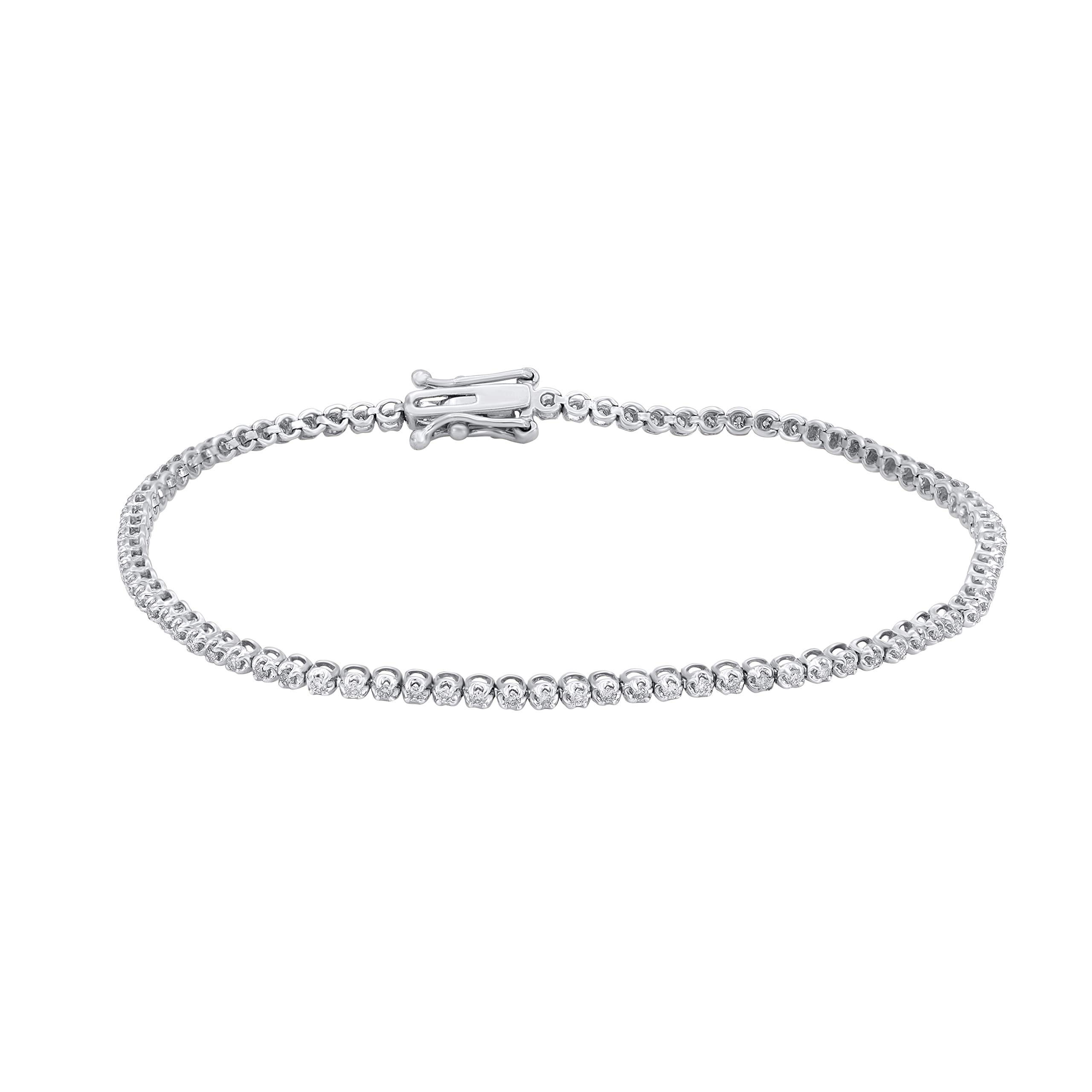 1/2 Carat Natural Diamond Bracelet 10K White Gold (M-N Color, I1-I2 Clarity) Diamond Tennis Bracelet for Women Diamond Jewelry Gifts for Women by TJD