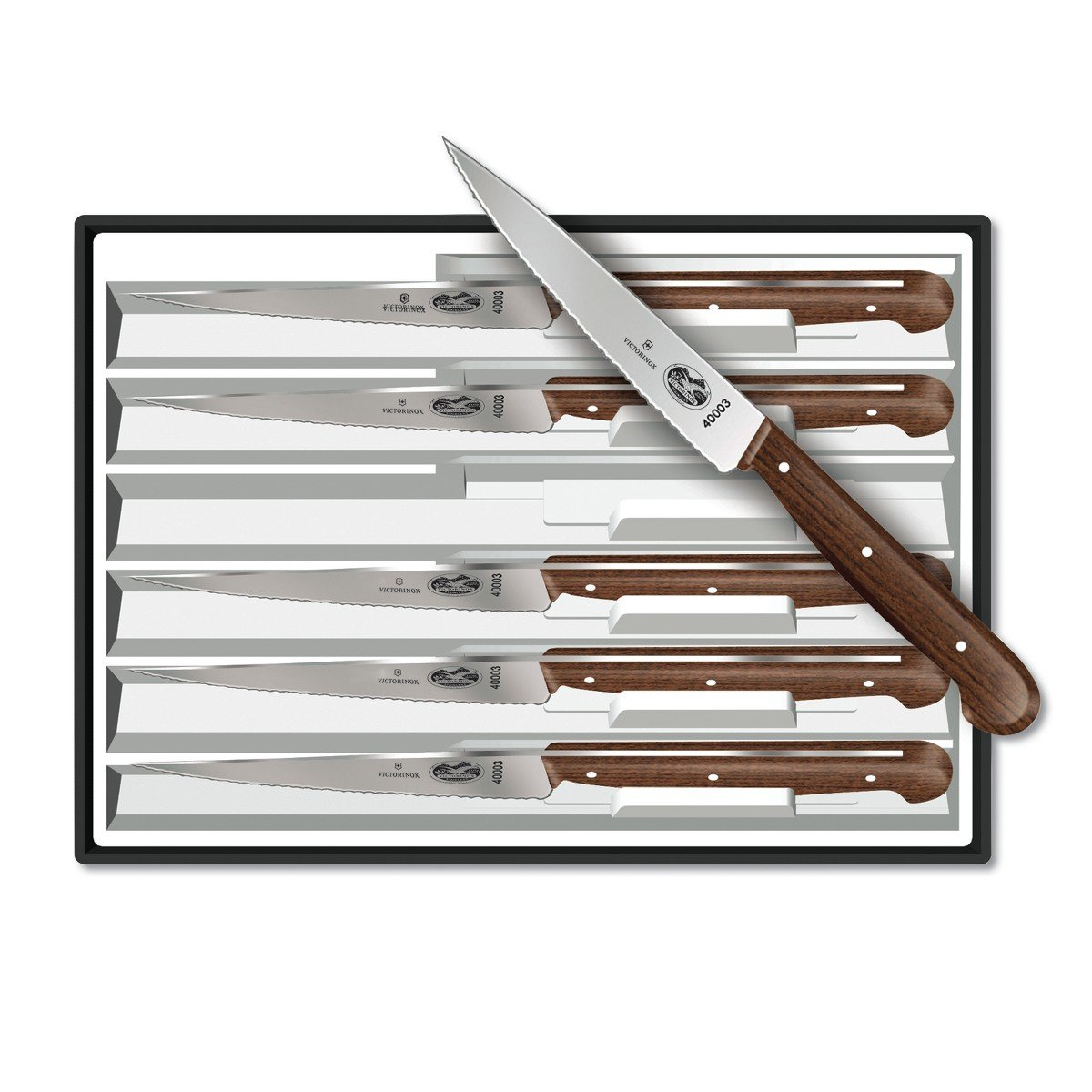 Victorinox 4-3/4-Inch Wavy-Edge Spear-Tip Steak Knife, Set of 6, Rosewood Handles
